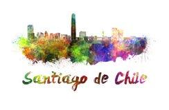 Horizon de Santiago de Chile dans l'aquarelle illustration de vecteur