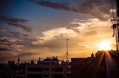 Horizon de Saragosse à l'aube Photographie stock