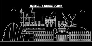 Horizon de silhouette de Bangalore Inde - ville de vecteur de Bangalore, architecture linéaire indienne, bâtiments Voyage de Bang illustration stock