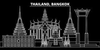 Horizon de silhouette de Bangkok Ville de vecteur de la Thaïlande - de Bangkok, architecture linéaire thaïlandaise, bâtiments Lig illustration libre de droits