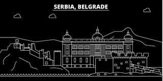 Horizon de silhouette de Belgrade Ville de vecteur de la Serbie - de Belgrade, architecture linéaire serbe, bâtiments Voyage de B illustration libre de droits