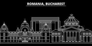 Horizon de silhouette de Bucarest Ville de vecteur de la Roumanie - de Bucarest, architecture linéaire roumaine, bâtiments Voyage illustration de vecteur