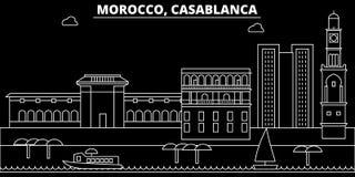 Horizon de silhouette de Casablanca Ville de vecteur du Maroc - de Casablanca, architecture linéaire marocaine, bâtiments casabla illustration de vecteur