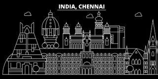 Horizon de silhouette de Chennai Inde - ville de vecteur de Chennai, architecture linéaire indienne, bâtiments Voyage de Chennai illustration libre de droits