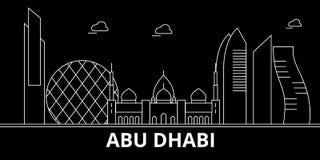 Horizon de silhouette d'Abu Dhabi Ville de vecteur des Emirats Arabes Unis - d'Abu Dhabi, architecture linéaire arabe Ligne d'Abu Illustration de Vecteur