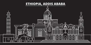 Horizon de silhouette d'Addis Ababa Ville de vecteur de l'Ethiopie - d'Addis Ababa, architecture linéaire éthiopienne, bâtiments  Photographie stock libre de droits