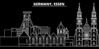 Horizon de silhouette d'Essen Ville de vecteur de l'Allemagne - d'Essen, architecture linéaire allemande, bâtiments Illustration  illustration stock