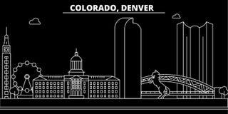 Horizon de silhouette de Denver LES Etats-Unis - Ville de vecteur de Denver, architecture linéaire américaine, bâtiments Illustra illustration stock