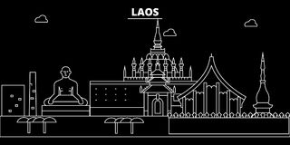 Horizon de silhouette du Laos, ville de vecteur, architecture linéaire de lao, bâtiments Illustration de voyage du Laos, landmark illustration stock