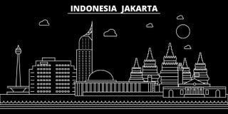 Horizon de silhouette de Jakarta Ville de vecteur de l'Indonésie - de Jakarta, architecture linéaire indonésienne, bâtiments Voya illustration stock