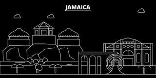 Horizon de silhouette de la Jamaïque, ville de vecteur, architecture linéaire jamaïcaine, bâtiments Illustration de voyage de la  illustration de vecteur