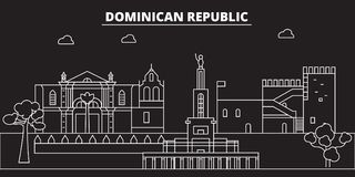 Horizon de silhouette de la République Dominicaine  Ville de vecteur de la République Dominicaine, architecture linéaire dominica illustration stock