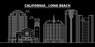 Horizon de silhouette de Long Beach LES Etats-Unis - Ville de vecteur de Long Beach, architecture linéaire américaine, bâtiments  illustration libre de droits