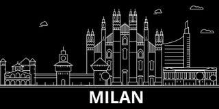 Horizon de silhouette de Milan Ville de vecteur de l'Italie - de Milan, architecture linéaire italienne, bâtiments Illustration d illustration libre de droits