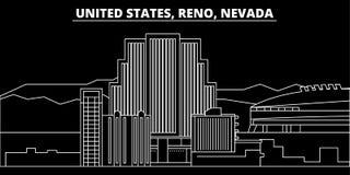 Horizon de silhouette de Reno, Nevada Ville de vecteur des Etats-Unis - Reno, Nevada, architecture linéaire américaine, bâtiments illustration de vecteur
