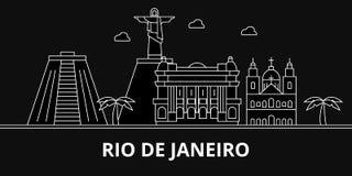 Horizon de silhouette de Rio De Janeiro Ville de vecteur du Brésil - du Rio De Janeiro, architecture linéaire brésilienne, bâtime illustration stock