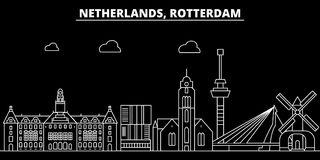 Horizon de silhouette de Rotterdam Ville de vecteur des Pays-Bas - de Rotterdam, architecture linéaire néerlandaise, bâtiments ro illustration stock