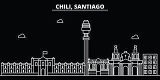 Horizon de silhouette de Santiago de Chile Ville de vecteur de Santiago de Chile, architecture linéaire chilian, buildingtravel illustration libre de droits
