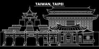 Horizon de silhouette de Taïpeh Ville de vecteur de Taïwan - de Taïpeh, architecture linéaire taiwanaise, bâtiments Voyage de Taï illustration de vecteur