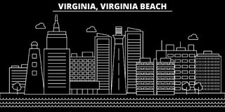 Horizon de silhouette de Virginia Beach Les Etats-Unis - ville de vecteur de Virginia Beach, architecture linéaire américaine, bâ illustration libre de droits