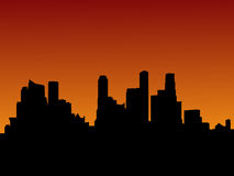Horizon de Singapour au coucher du soleil Images libres de droits