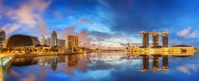 Horizon de Singapour et vue de Marina Bay image libre de droits