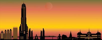 Horizon de soirée de Bangkok illustration de vecteur