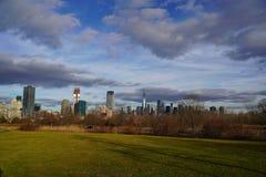 Horizon de Stad van van Manhattan, New York Mening van Liberty State Park stock afbeeldingen
