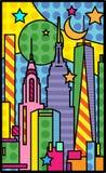 Horizon de style d'art de bruit de New York City photo stock