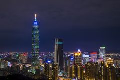 Horizon de Taïpeh, Taïwan Photographie stock