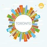Horizon de Toronto avec les bâtiments de couleur, le ciel bleu et l'espace de copie illustration libre de droits