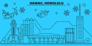 Horizon de vacances d'hiver des Etats-Unis, Honolulu Le Joyeux Noël, bonne année a décoré la bannière avec Santa Claus illustration stock
