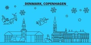 Horizon de vacances d'hiver du Danemark, Copenhague Le Joyeux Noël, bonne année a décoré la bannière avec Santa Claus denmark illustration de vecteur