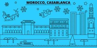 Horizon de vacances d'hiver du Maroc, Casablanca Le Joyeux Noël, bonne année a décoré la bannière avec Santa Claus morocco illustration libre de droits