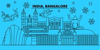 Horizon de vacances d'hiver de l'Inde, Bangalore Le Joyeux Noël, bonne année a décoré la bannière avec Santa Claus l'Inde illustration libre de droits