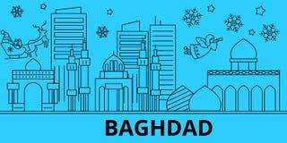 Horizon de vacances d'hiver de l'Irak, Bagdad Le Joyeux Noël, bonne année a décoré la bannière avec Santa Claus L'Irak, Bagdad illustration stock
