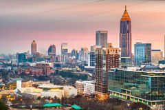 Horizon de van de binnenstad van Atlanta, Georgië, de V.S. royalty-vrije stock afbeeldingen