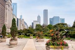 Horizon de Van de binnenstad van Chicago met wolkenkrabbers, Illinois, de V.S. royalty-vrije stock afbeelding
