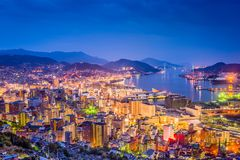 Horizon de Van de binnenstad van Nagasaki, Japan stock foto's