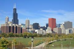 Horizon de van de binnenstad van Chicago Royalty-vrije Stock Foto's