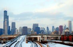 Horizon de van de binnenstad van Chicago Stock Afbeelding