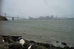 Horizon de van de binnenstad van San Francisco met brug Stock Fotografie