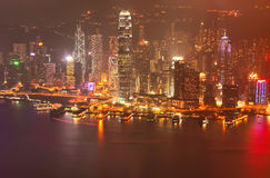 Horizon de Victoria Harbor et de Hong Kong Photographie stock