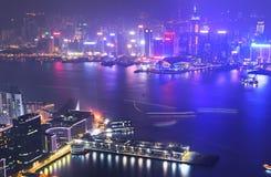 Horizon de Victoria Harbor et de Hong Kong Image libre de droits