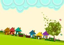 Horizon de village de petite ville illustration de vecteur