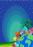 Horizon de village de petite ville illustration stock