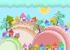 Horizon de village de petite ville illustration libre de droits