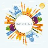 Horizon de ville de Bagdad Irak avec les bâtiments de couleur, le ciel bleu et la cannette de fil illustration de vecteur