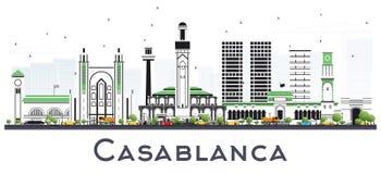 Horizon de ville de Casablanca Maroc avec Gray Buildings Isolated sur le blanc illustration libre de droits