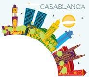 Horizon de ville de Casablanca Maroc avec les bâtiments de couleur, le ciel bleu et l'espace de copie illustration de vecteur